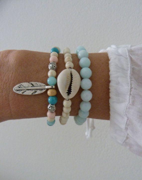 3 bohemian bracelets  beach bracelets crystal healing  by beachcombershop on Etsy