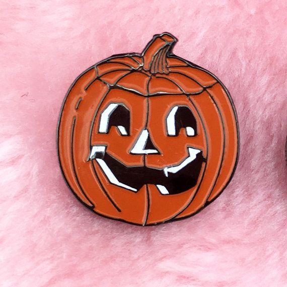 Pumpkin Pin, Lapel Pin, Enamel Pin, Vintage Pin, Enamel Pins, Cyber Punk, Rave, Grunge, Punk, Tumblr, 90's, Coachella, Goth, Halloween on Etsy, $7.99