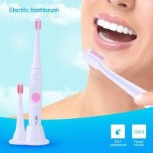 Battery Operated Waterproof Sonic Electric Toothbrush with Two Replaceable Brush Heads for Adults and Children