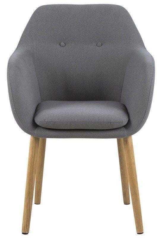 Selina+Spisebordsstol+-+Lys+grå+-+Smuk+spisebordsstol+i+et+nordisk+og+minimalistisk+design.+Stolens+ryg+har+en+unik+detalje+ved+de+to+trykknapper+og+sædet/ryggen+er+betrukket+i+et+lysegråt+stof.+De+flotte+oliebehandlede+egetræsben+er+med+til,+at+fuldende+det+minimalistiske+look.++
