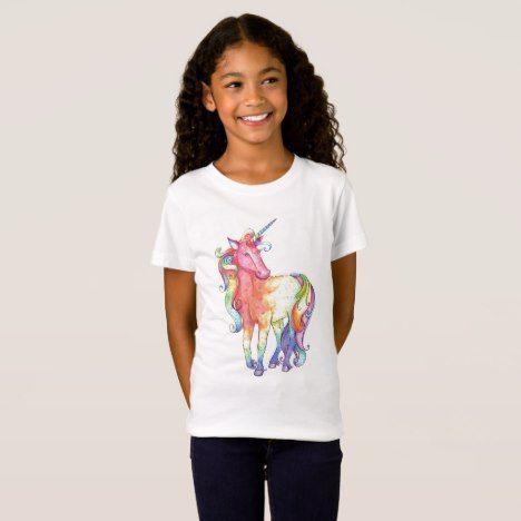 Girls Rainbow Unicorn T-shirt #rainbow #kids #clothing