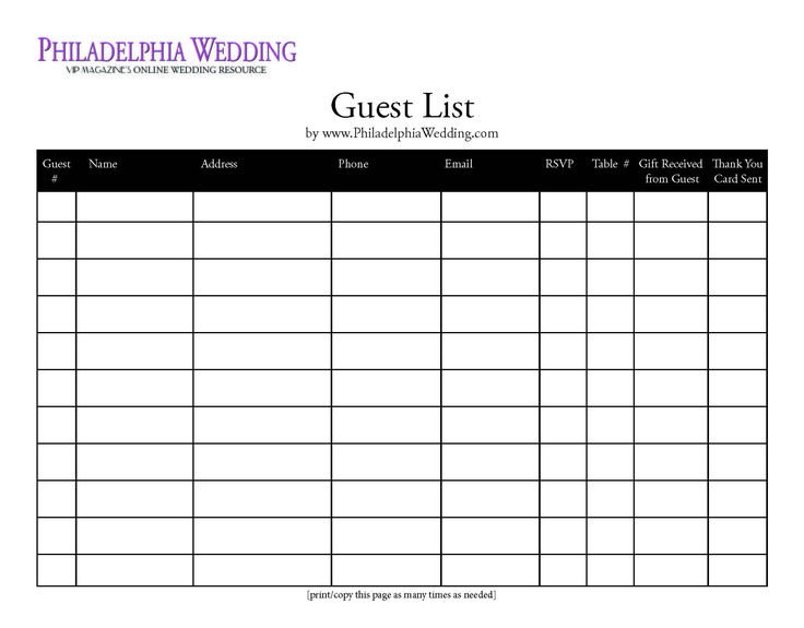 Wedding Guest List Template