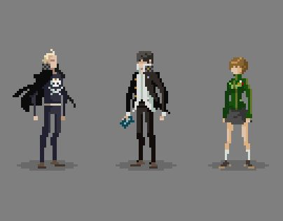 "Characters from the Atlus game ""Persona 4"" done in pixel art - Michael Myers on Behance"