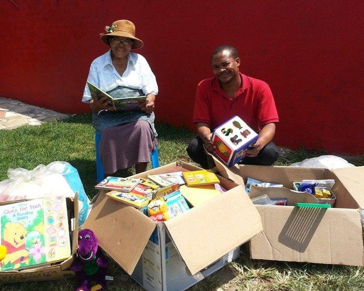 Sister Betty Glover with Tshepo Mofokeng from Stor-Age Constantia Kloof http://www.stor-age.co.za/Blog/319/Stor-Age-Creates-Happiness-With-Charity-Collection-Drive