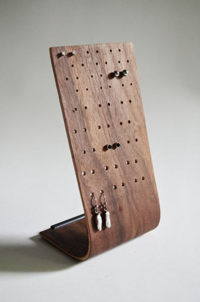 Jewelry Holders  -  this one is done in wood, but could easily be done in clay!!!