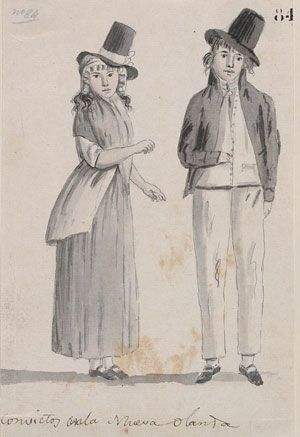 Line and wash drawing of a man and woman in period clothes of the 1790s