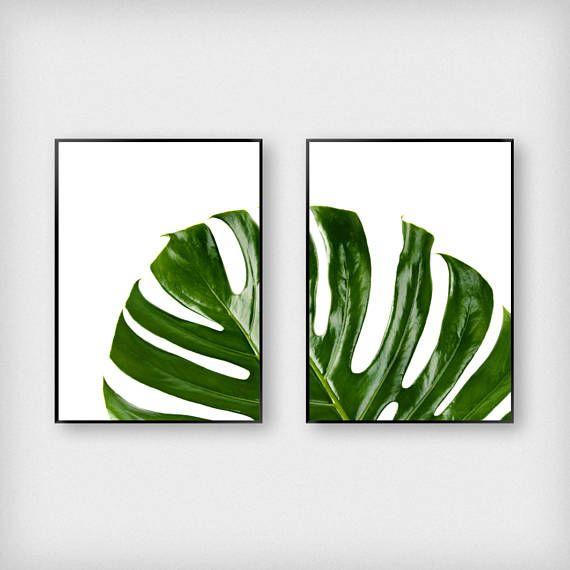 Split Monstera blad afdrukken  Botanische  Groen  Tropische