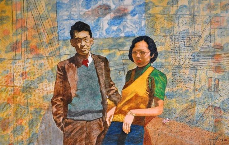 The painting titled 'A Couple', took Tan Swie Hian almost 5 years to complete and will be donated to NLB. It was inspired by a photograph of the late Mr Lee Kuan Yew and Madam Kwa Geok Choo in Cambridge circa 1946. Tan started on the painting in 2009; however, in January 2013, a fire broke out at his Telok Kurau studio where the unfinished portrait was kept. The painting was damaged by water from the fire engines. Mr Tan finally completed the painting in 2014.