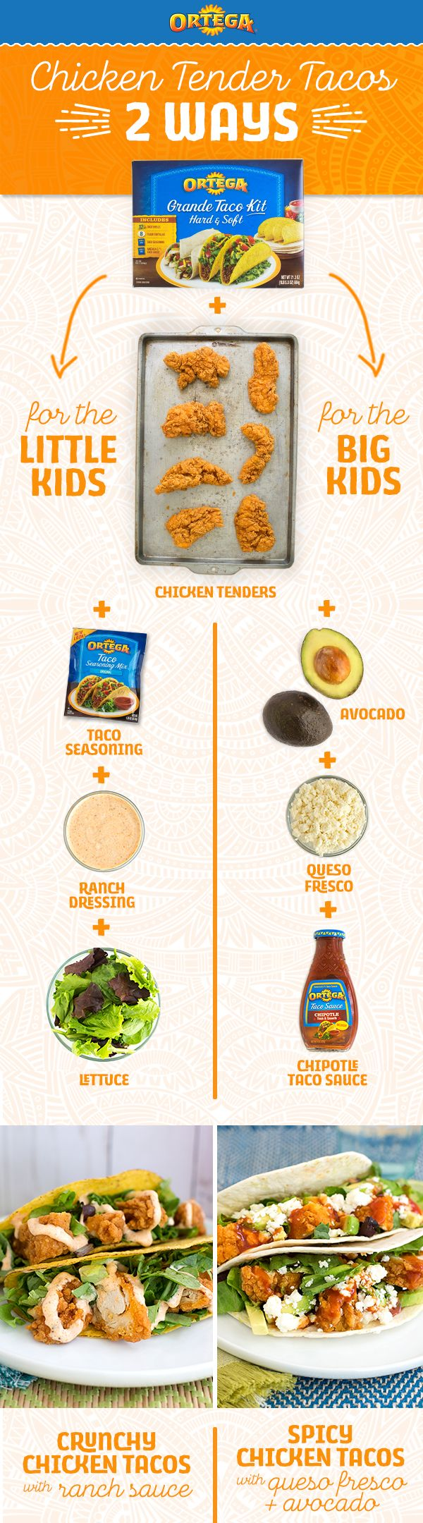 We made dressing up tacos easy, so your weeknight dinners will be a breeze. Got big and little kids with different tastes? Try mixing Ortega Taco Seasoning and ranch dressing for flavor that won't bring the heat—or use Ortega Chipotle Taco Sauce for a little more bite.
