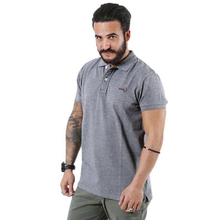 BASEHIT Ανδρική κοντομάνικη πικέ πόλο μπλούζα PS1770GREY