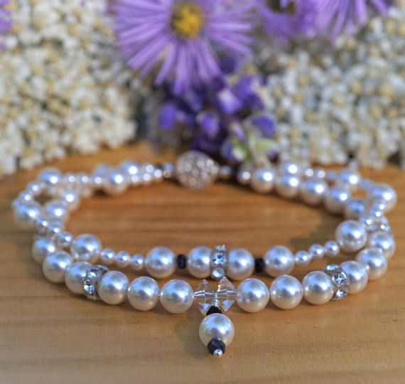 Bridal Bracelet, Wedding Jewelry, Pearl and Sapphire Bracelet, Bridesmaid Gifts, Swarovski and Sapphire, Mother of the Bride Gift