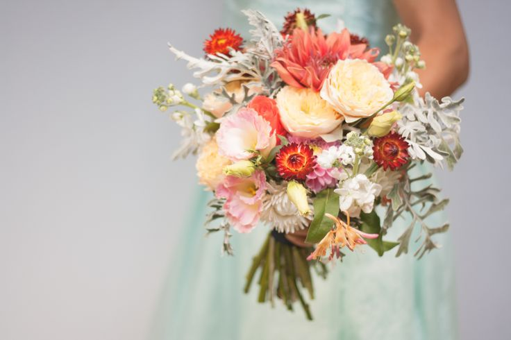 Wedding bouquet orange, gray green, peach