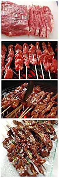 BBQ Beef Teriyaki Recipe - 1 flank steak 16 bbq skewers 2 tsp sesame oi salt & pepper Teriyaki Glaze - 1 cup soy sauce 1/2 cup brown sugar 2 Tbsp honey 1 Tbsp mirin 1 Tbsp garlic, minced 1 tsp ginger, minced 1 Tbsp cornstarch 1/4 cup cold water