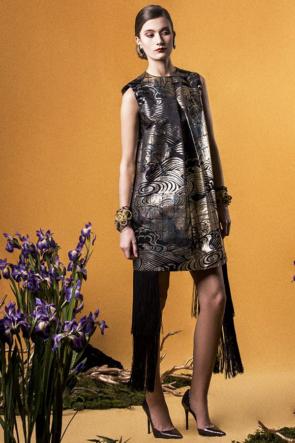 "Yumi Katsura/ ""GLORIOUS RIMPA"" SS2015 REFLEC PRINT DRESS WITH FRINGES"