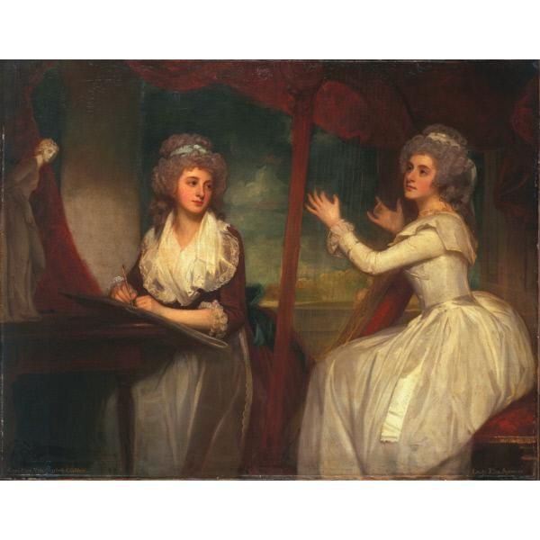 Lady Caroline Spencer, later Viscountess Clifden, and her sister, Lady Elizabeth Spencer Date: 1786-1792 George Romney , British, 1734-1802  Lady Caroline Spencer, later Viscountess Clifden , British, 1763 - 1813  Lady Elizabeth Spencer , British, 1764 - 1812  Dimensions: 57 1/4 x 73 1/8 in. (145.4 x 185.7 cm.) Oil on canvas The Huntington Library, Art Collections, and Botanical Gardens