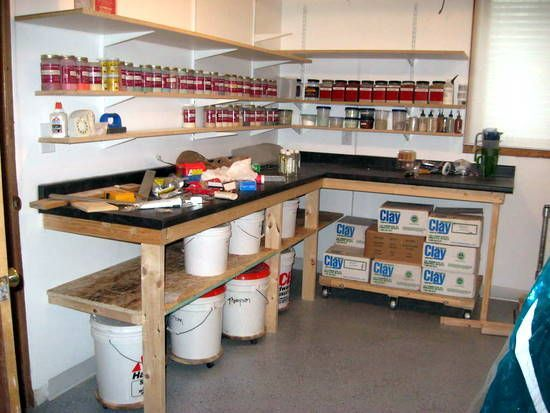"home garage shop ideas - Glaze station ""A"" as in Art Clay"
