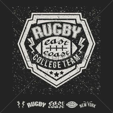 Rugby Emblem Girl's Graphic Design for T Shirt stock vector ...