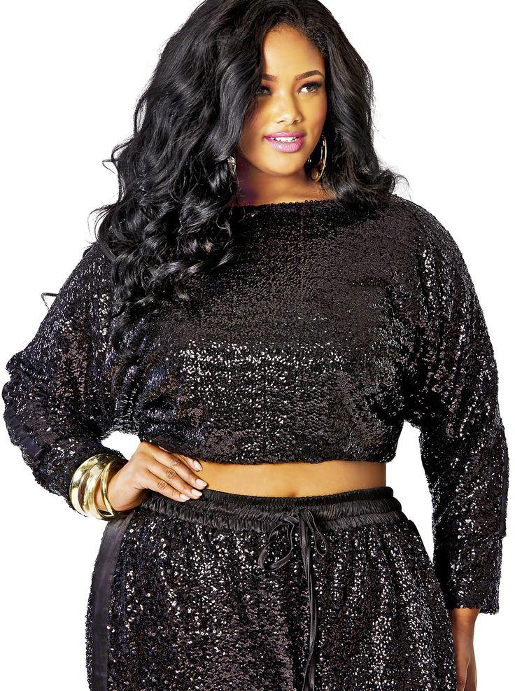 Quot Brianna Quot Sequin Crop Top Black Sale Monif C Plus