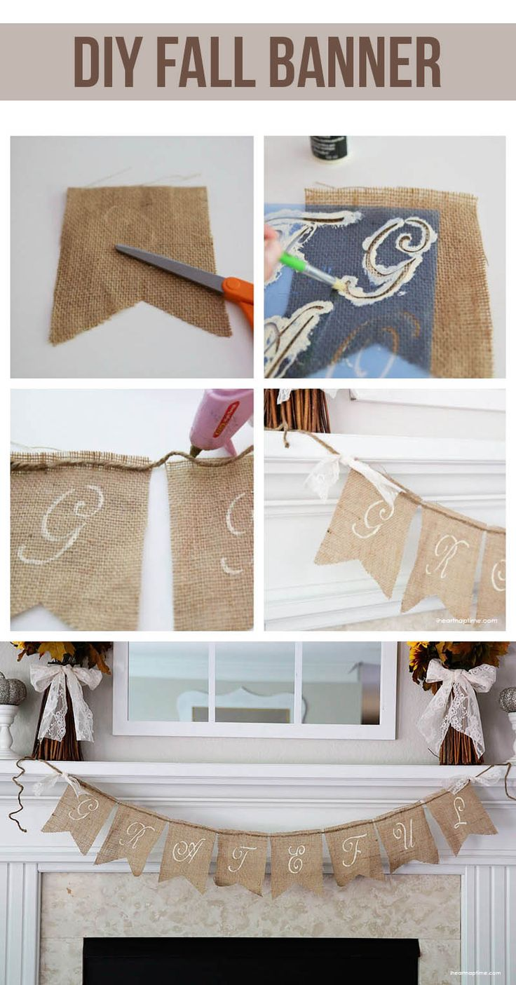 DIY fall banner on iheartnaptime.com ...super easy and inexpensive!