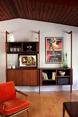 A bookshelf we love. Click on the pic to see more stunning mid-century modern furniture and read their story.