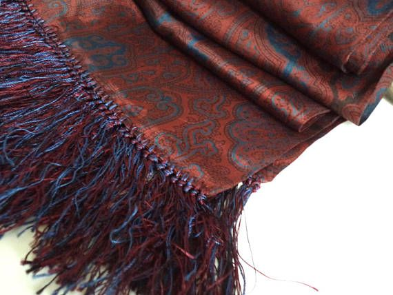 Men's Long Currie English Classic Fringed Scarf Foulard