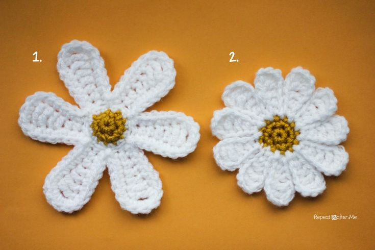 Two Daisy Flowers ~ free patterns╭⊰✿Teresa Restegui http://www.pinterest.com/teretegui/✿⊱╮
