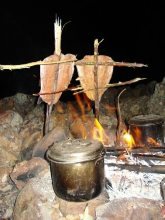 Our favorite way of cooking Fish over an campfire. Pic from our own trip to Isla del Sol (Bolivia)