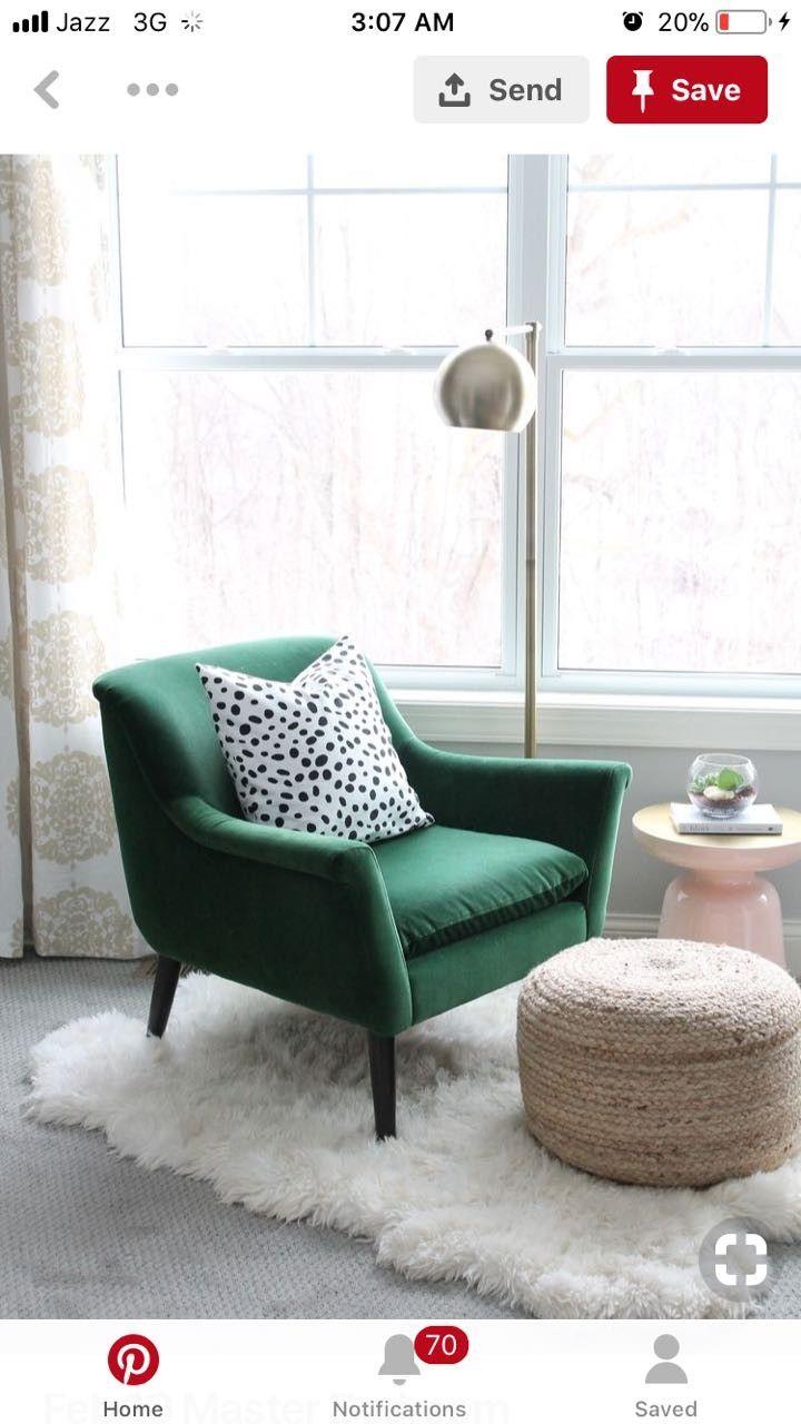Pin By Asma Shahbaz On Home Decor Green Armchair White Fur Rug Bedroom Chair