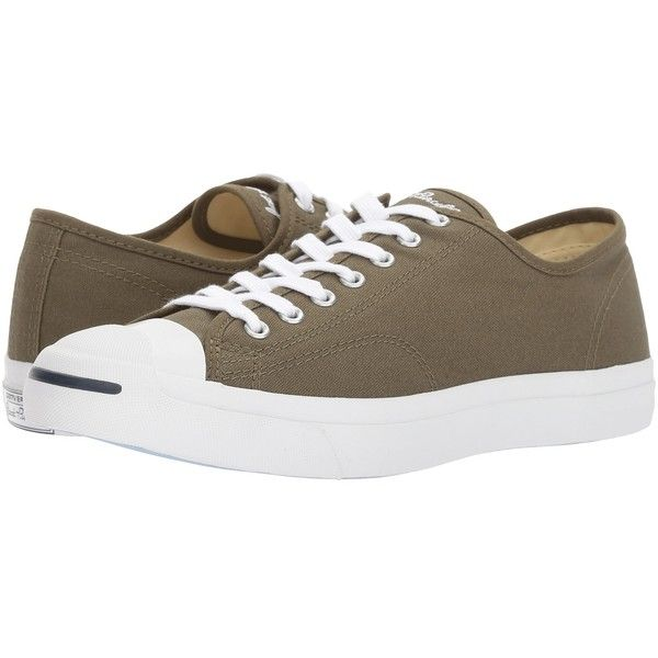 Converse Jack Purcell Jack - Ox (Medium Olive/Natural/White) Lace up... ($65) ❤ liked on Polyvore featuring shoes, sneakers, converse trainers, white lace up shoes, white eyelet shoes, lace up shoes and converse sneakers