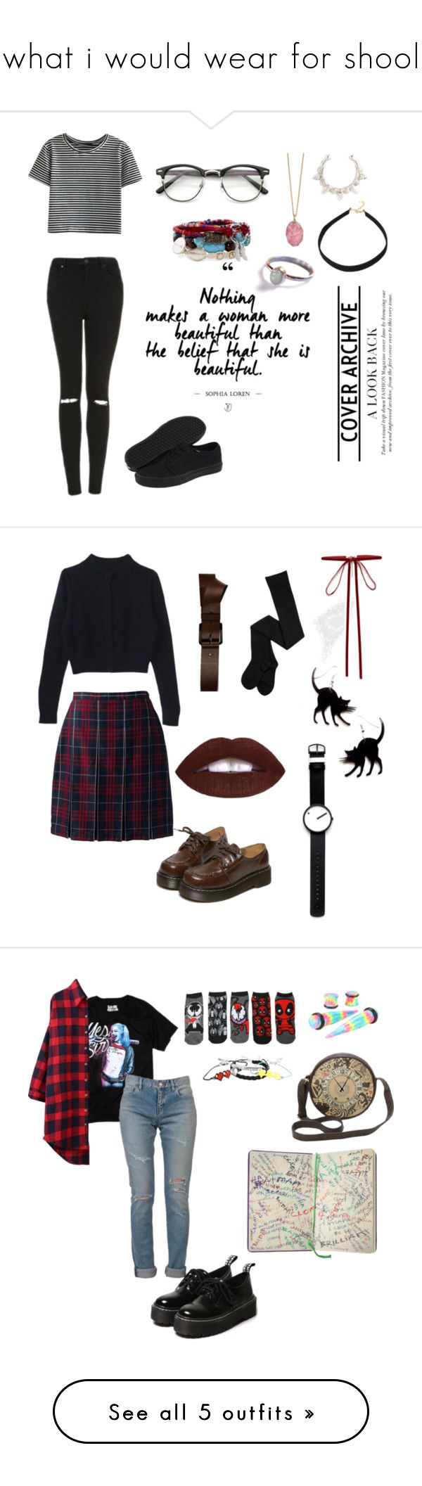 """""""what i would wear for shool"""" by shadae-hernandez ❤ liked on Polyvore featuring Topshop, Helix & Felix, Vans, Pamela Love, Lipsy, Decree, Lands' End, Barbara Bui, WithChic and ASOS"""