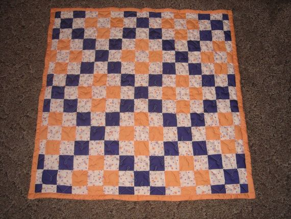 Irish Chain Quilt Pattern With Green Orange And White