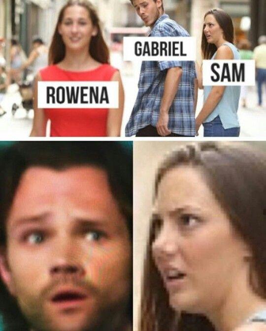 Jealous girlfriend meme Sam Gabriel Gabe Rowena | Supernatural