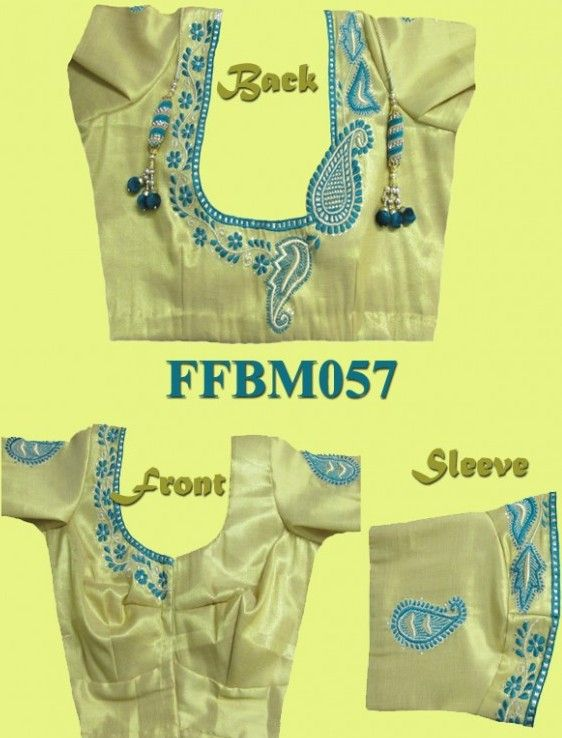 Machine Embroidery thread work & Stone work. http://faamys.com/product/mango-floral-embroidered-blouse-ffbm057/ Cost: Rs 2500/-
