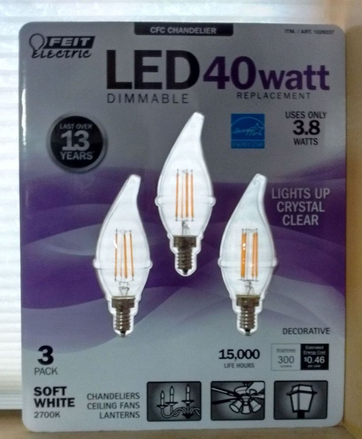 Feit Electric LED Candelabra Chandelier Dimmable Light bulbs 3 pack Energy Star