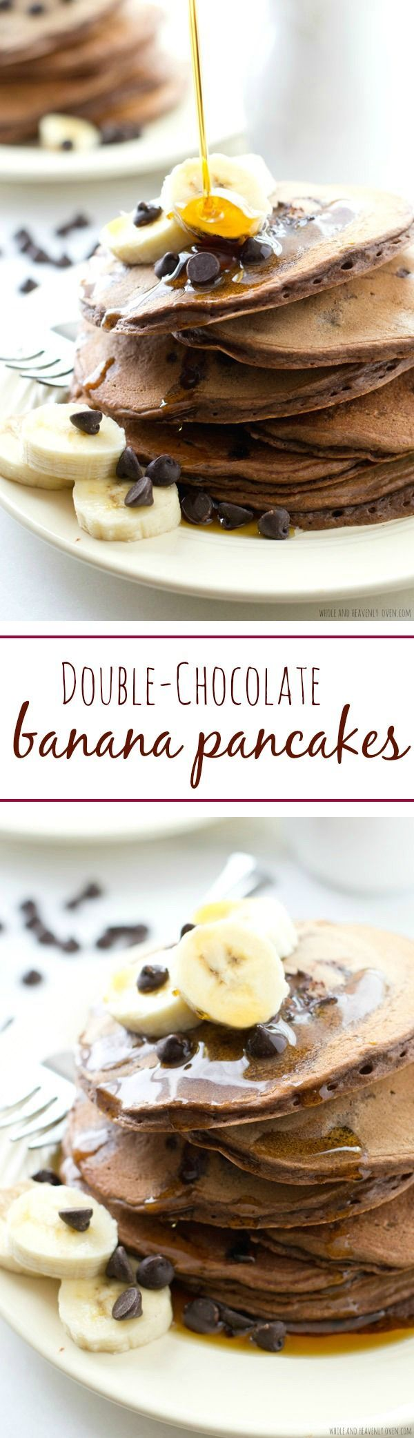 "Double Chocolate Banana Pancakes ~ These thick, fluffy pancakes are loaded with lots of banana flavor and a double-delight of chocolate---Your family will go ""bananas"" for these crowd-pleasing pancakes!"