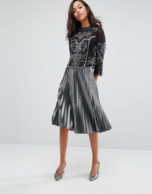 Miss Selfridge Silver Metallic Pleat Skirt