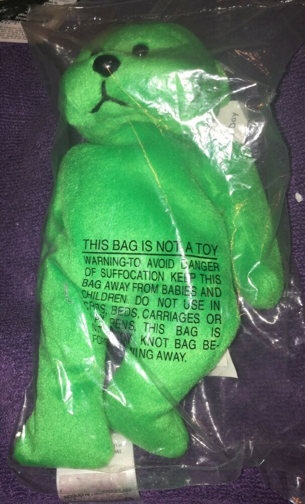 National City Bank And The March Of Dimes Green Bean Bag Bear Plush New Sealed Ebay Green Bean Bags Bear Plush Bean Bag