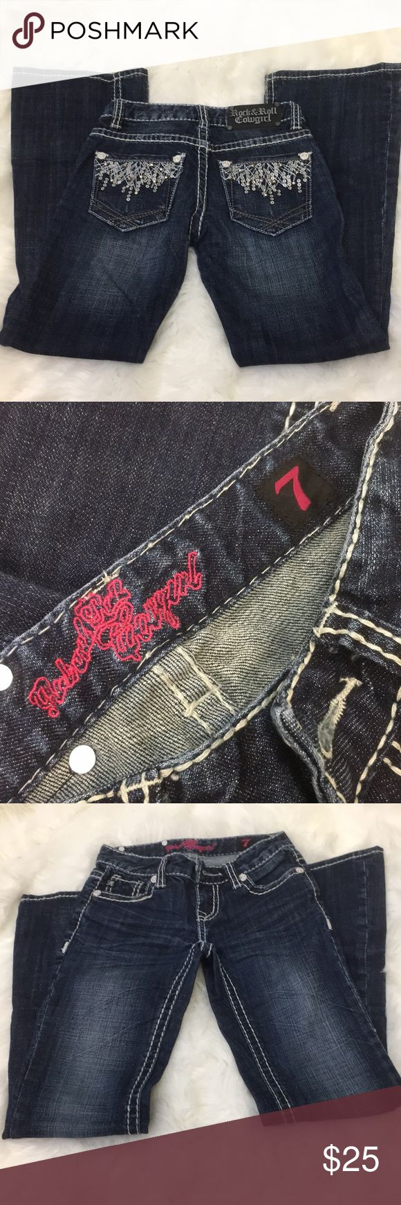 """Rock&Roll Cowgirl Jeans 25"""" inseam Decorative back pockets more understated than """"bling"""" Rock & Roll Cowgirl Bottoms Jeans"""