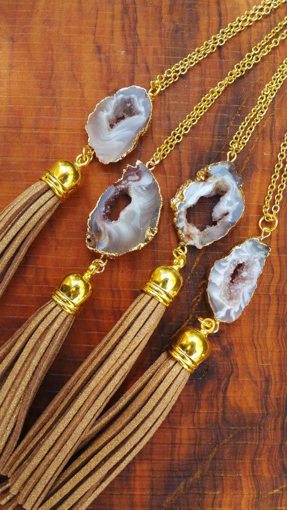 Long gold chain druzy necklace. Druzy by AllAboutEveCreations