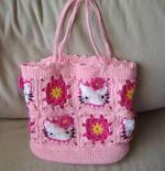 Сумка для девочки Hello Kitty. У меня мальчик, сумка и тем более такая не нужна, но сохранила себе схему, может кому-то на подарок пригодится связать.  Делюсь схемой