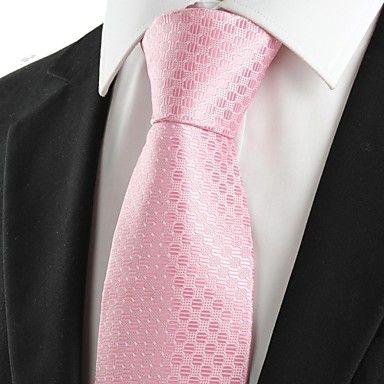 Mens Stylish Pink Jacquard Necktie