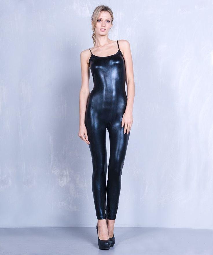 Sexy Black PVC Wet Look Vinyl Stretchy Straight leg Cat Suit Costume Jump Suit #urvana #Catsuit
