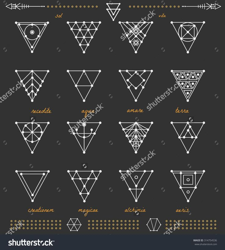 Set of geometric shapes. Geometric drawing, triangle design. Trendy hipster gold icons and logotypes. Religion, philosophy, spirituality, occultism symbols collection.                                                                                                                                                                                 Plus
