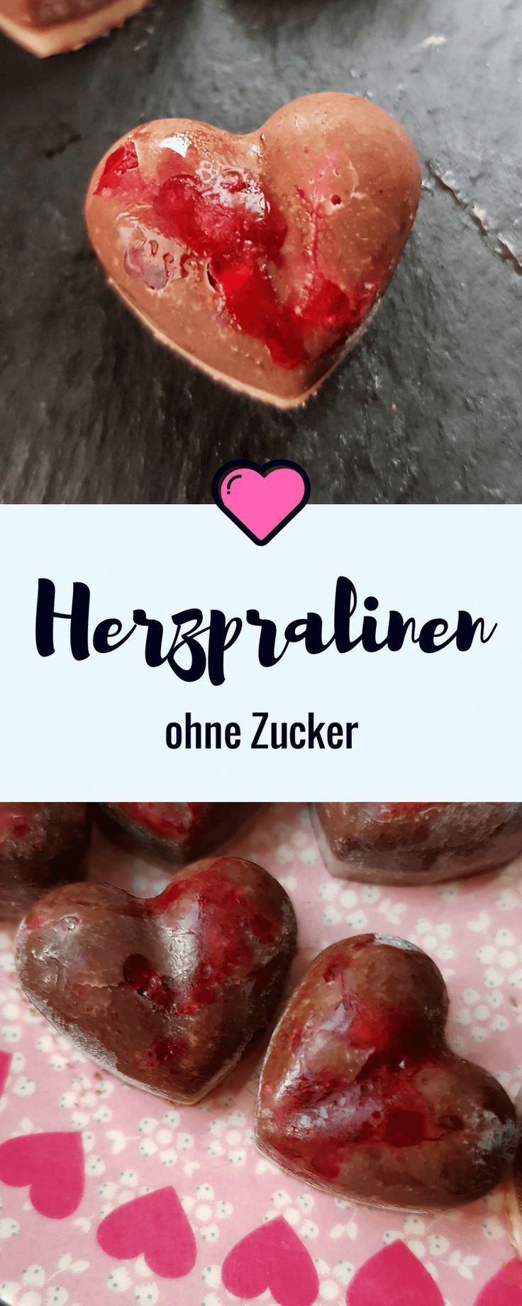 zuckerfreie Pralinen: Himbeer-Herzen einfach selber machen. #zuckerfrei #pralinen #himbeeren #herzen #valentinstag
