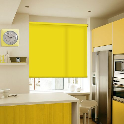 A bright Yellow bespoke roller blind fabric.