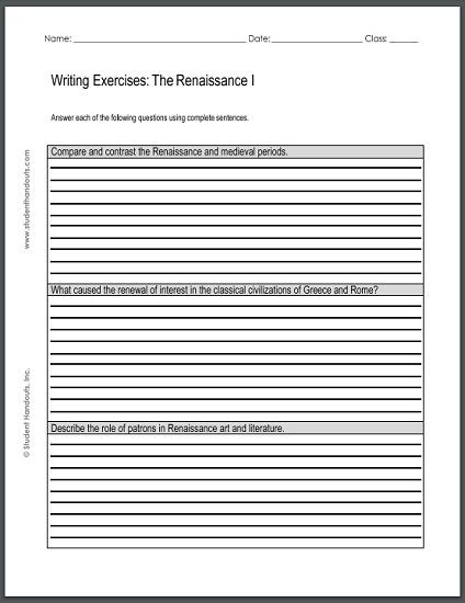 renaissance writing exercises sheet 1 free to print pdf social studies pinterest. Black Bedroom Furniture Sets. Home Design Ideas