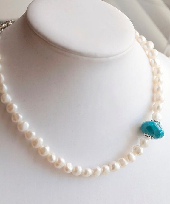 White Freshwater Pearl Necklace with Teal accent