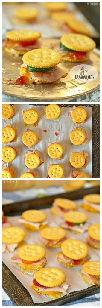 Sweet and Spicy Jamwiches! The perfect holiday appetizer. Fun little sandwiches made with Ritz Crackers. So fun and easy! | The Cookie Rookie
