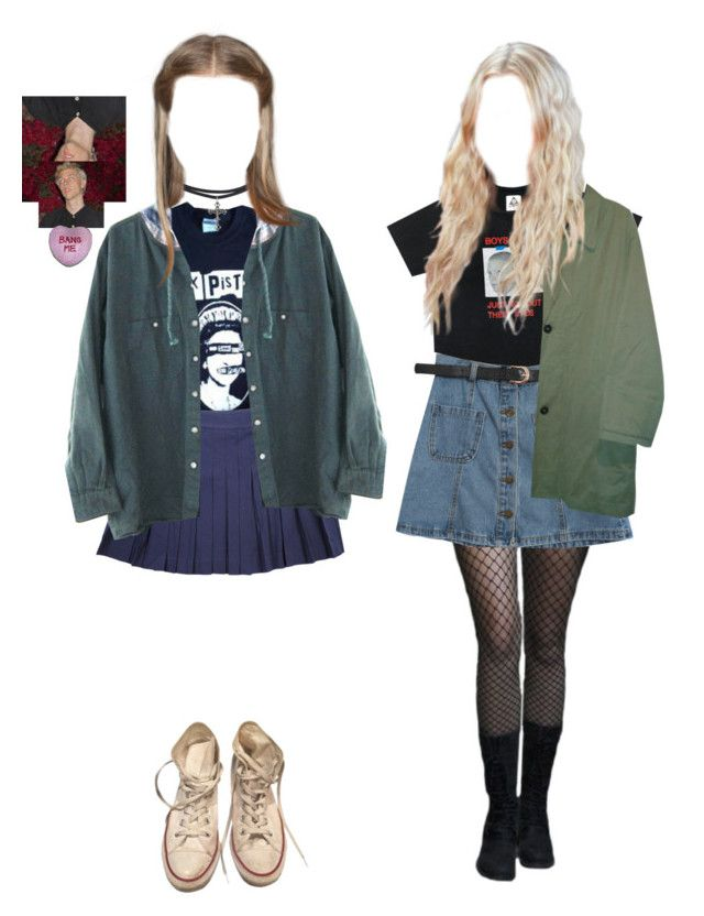 """""""Skate witches"""" by adolescentdazecraze ❤ liked on Polyvore featuring Chanel, Chicnova Fashion, Burberry, Converse and Dreamgirl"""
