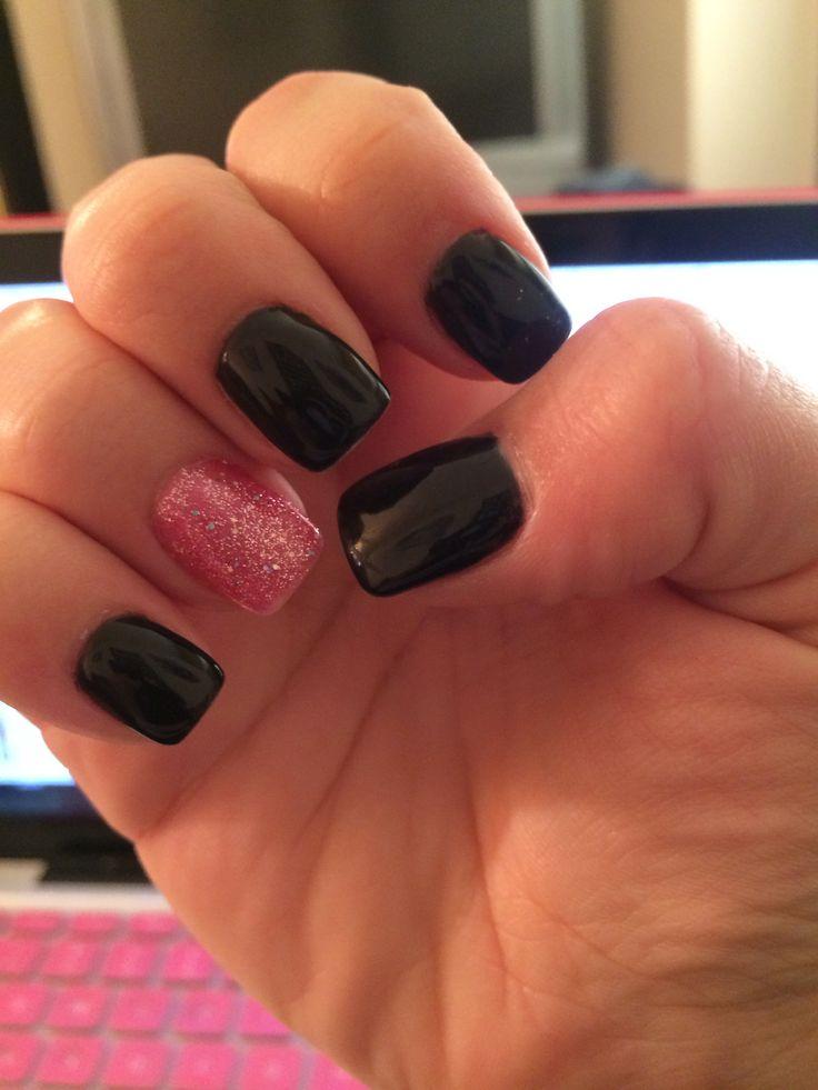 Pink and black shellac nails 2014